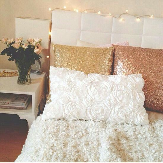 Champagne And Rose Gold Accents On White Home Decor Bedroom