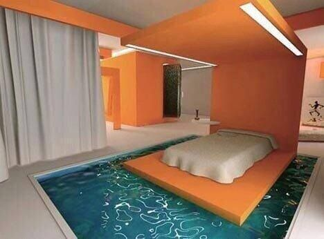 Original Bed Surrounded By Water In A Hotel In Paris Awesome Bedrooms Pool Bedroom Cool Rooms