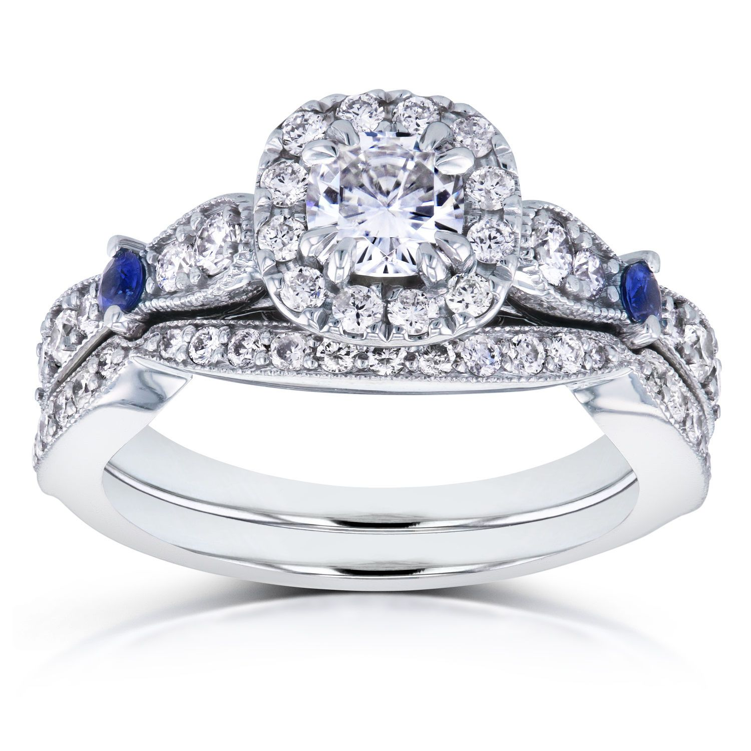 Moissanite with Sapphire and Diamond Antique Bridal Set 1
