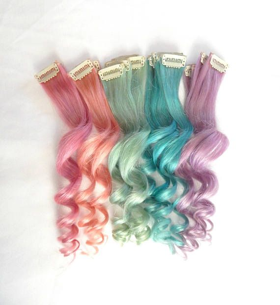 Pastel Hair Extensions 18 In 100 Human Hair Single Clip Double