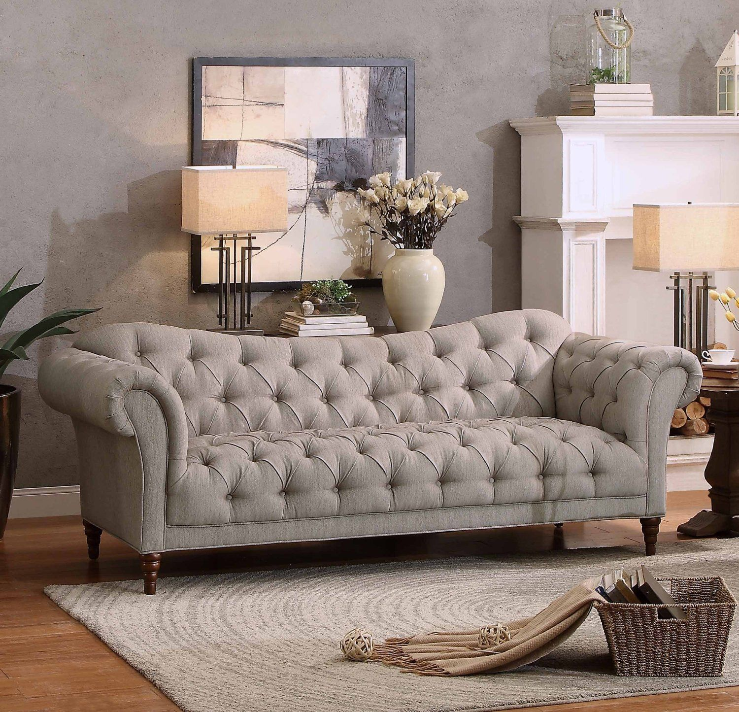 Amazon.com: Homelegance Chesterfield Traditional Style Sofa With Tufting  And Rolled Arm Design, Brown/Almond: Kitchen U0026 Dining