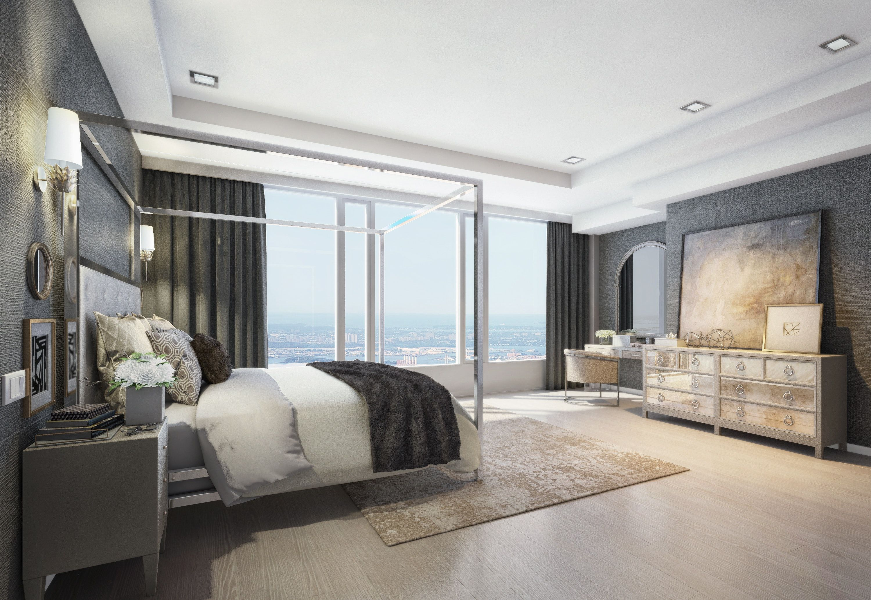 Master Bedroom  Upper West Side Penthouse  NYC by Kathy