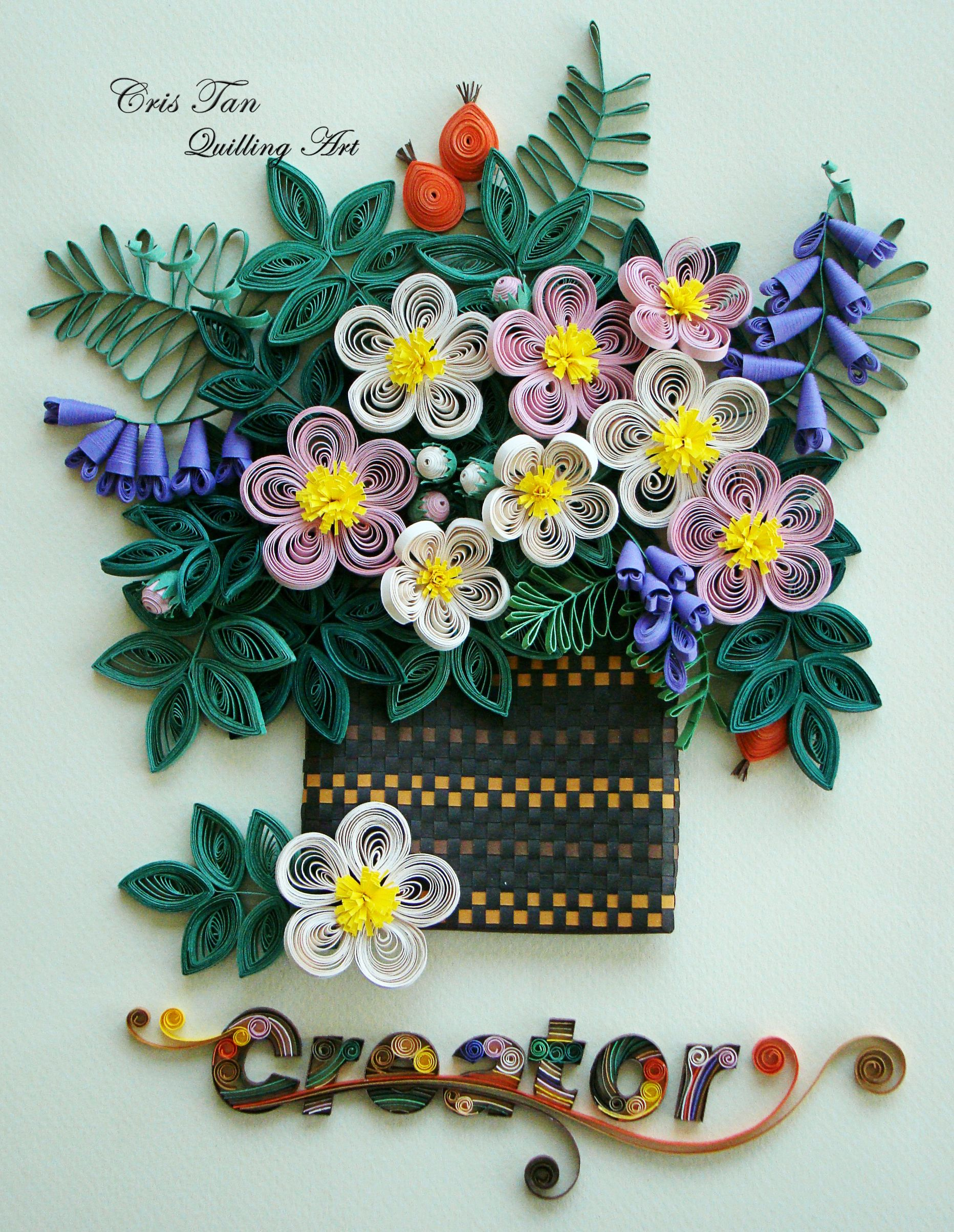 Quilling beauty flowers cris tan quilling art for Paper quilling work