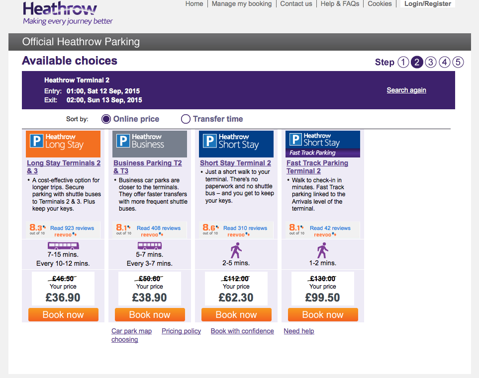 Heathrow Parking Example Of Reevoo Live On Their Site