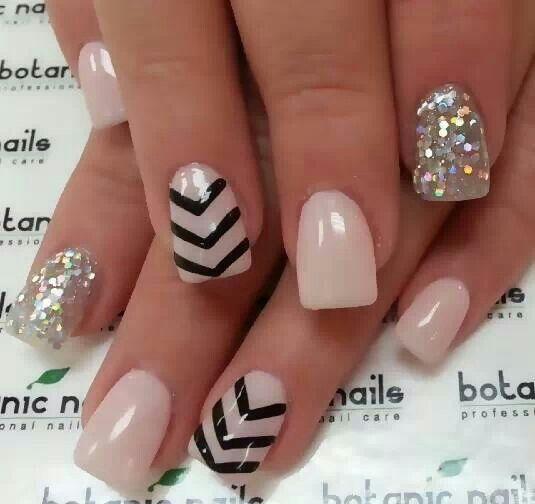 Black white and glitter nails