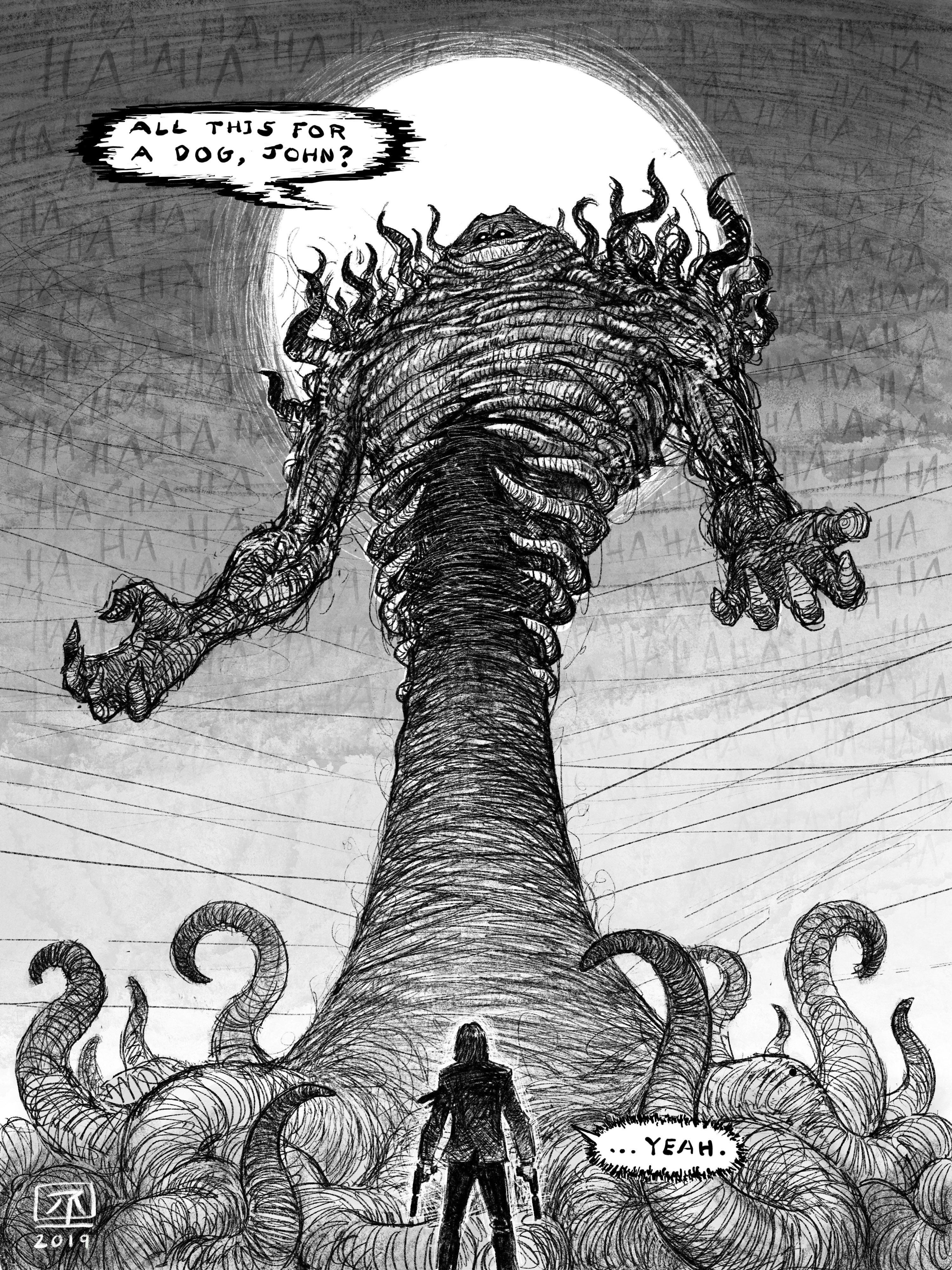 Vengeful John The Crossover By Rojom Creepy Garfield Scary Art Creepy Art Horror Art