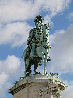 Praça do Comércio - Statue of King José I, by Machado de Castro (1775). The King on his horse is symbolically crushing snakes on his path.