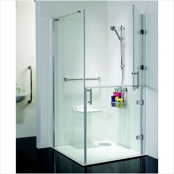 The Stylish Full Height Hinged Split Frameless Shower Doors Are Also Offered With A Fixed Side Pan Frameless Shower Enclosures Bathroom Shower Design Wet Rooms