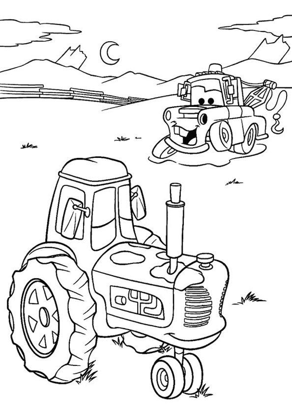 Disney Pixar Cars Mater Tractor Tippin Coloringpage