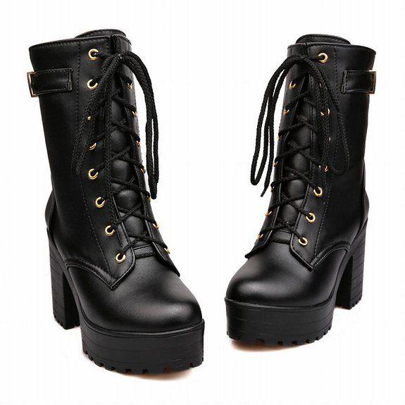 1c3def50194 Amazon.com: Carol Shoes Fashion Women's Lace-up Buckle Combat ...