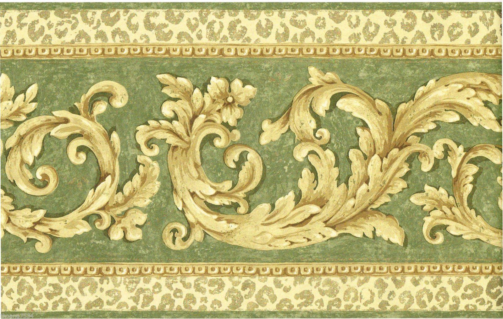 Victorian Golden Acanthus Scroll Leaf Gold Leopard Sage Green Wallpaper Border Sage Green Wallpaper Green Wallpaper Wallpaper Border