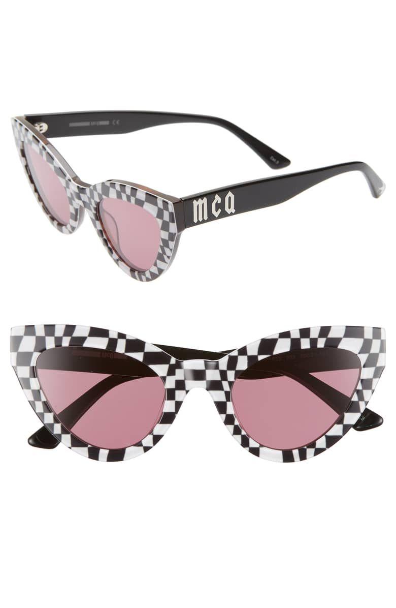cf4c7abc681d 50mm Cat Eye Sunglasses, Main, color, WHITE BLACK CHECK | Feminino ...