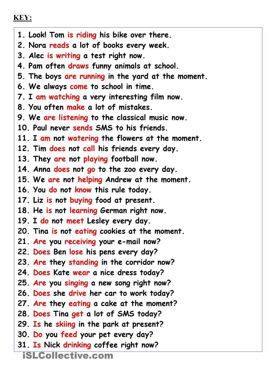 Revision:Present Simple or Present Continuous | read,speak,write ...