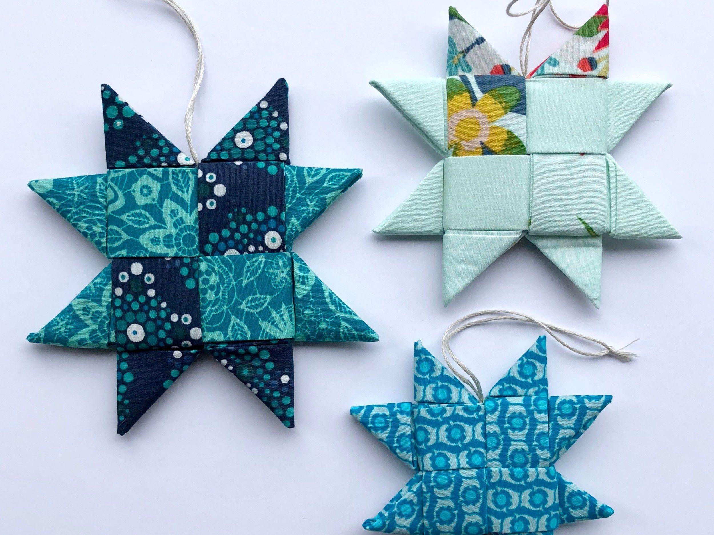 Scandinavian Folded Fabric Star Ornament W Video Tutorial Mister Domestic Fabric Christmas Ornaments Sewn Christmas Ornaments Christmas Fabric Crafts
