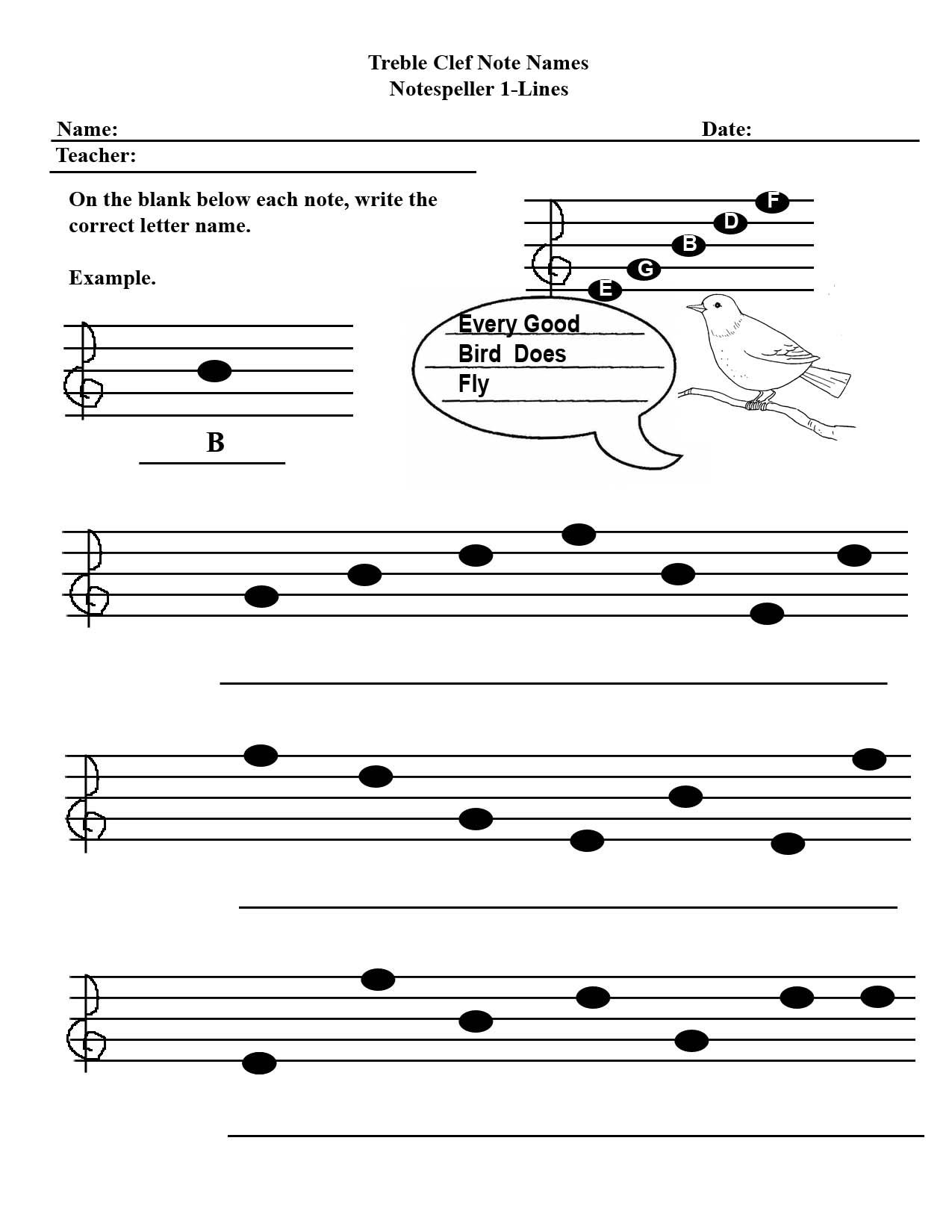 Intro To Note Names Kids Worksheet