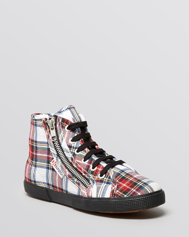 d25caebced6c Superga Lace Up Zip High Top Sneakers - Tartan