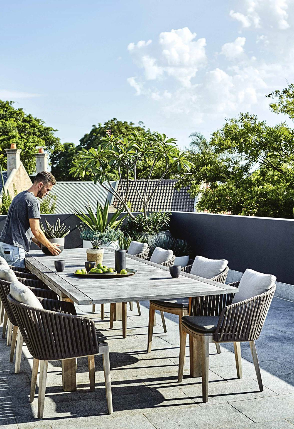 This rooftop terrace features a low-maintenance garden