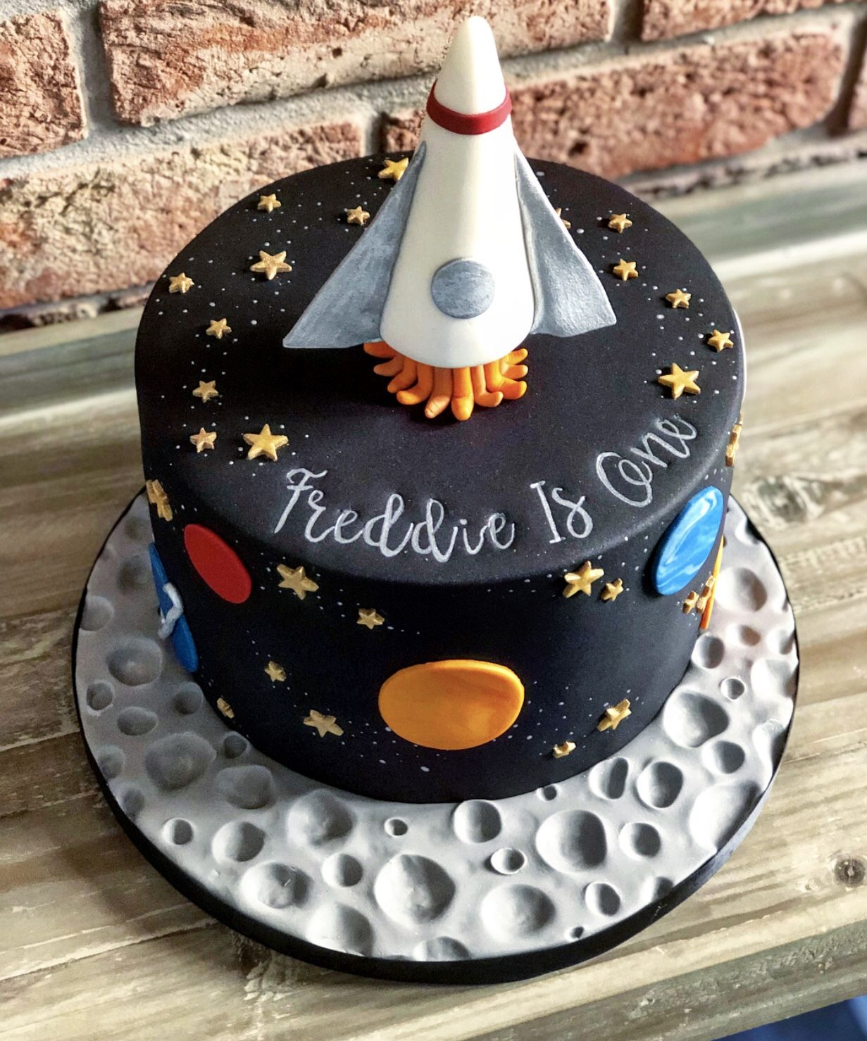 Pleasing Freddies First Birthday Space Rocket Cake Rocket Cake Funny Birthday Cards Online Overcheapnameinfo