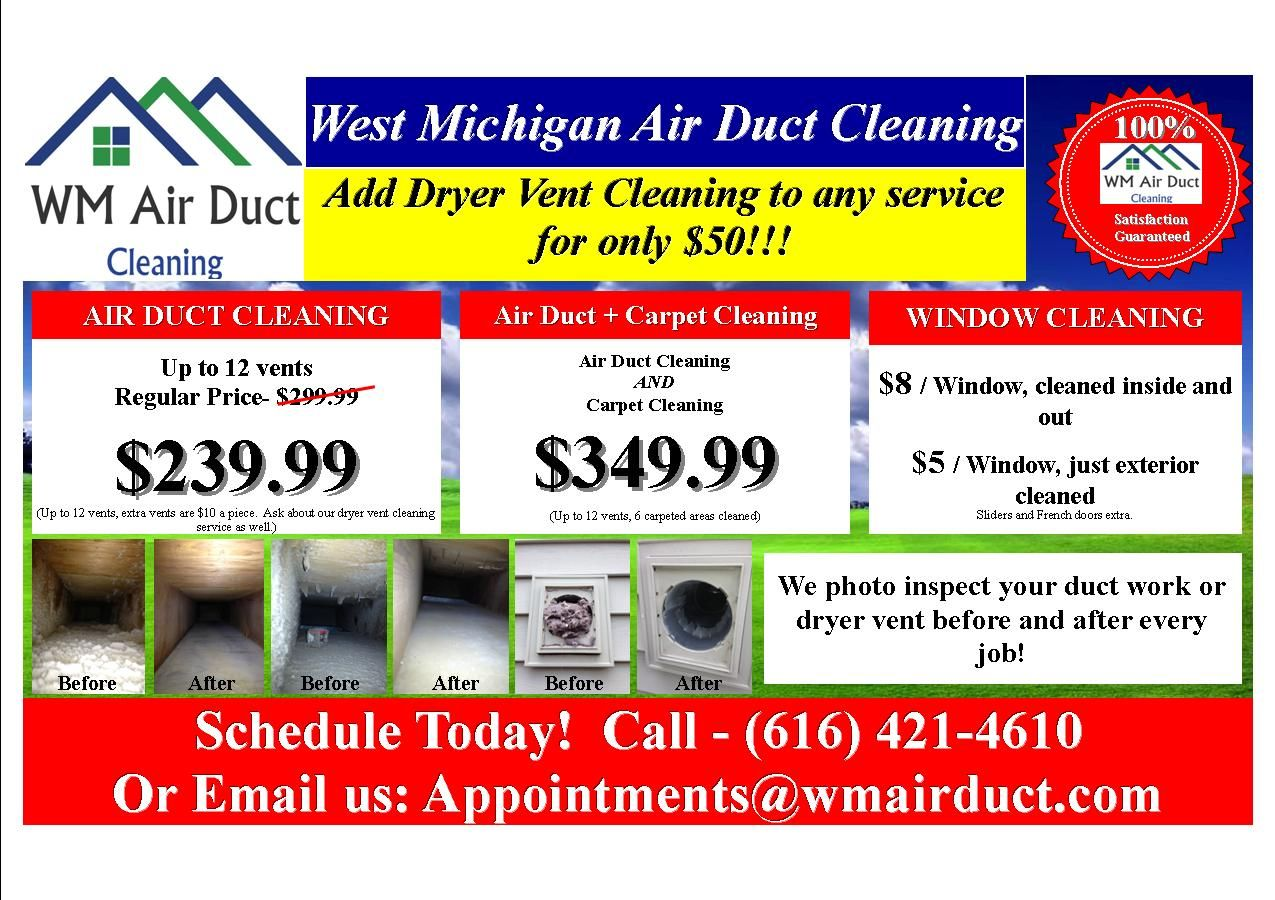 Check out our seasonal specials! Air duct cleaning in
