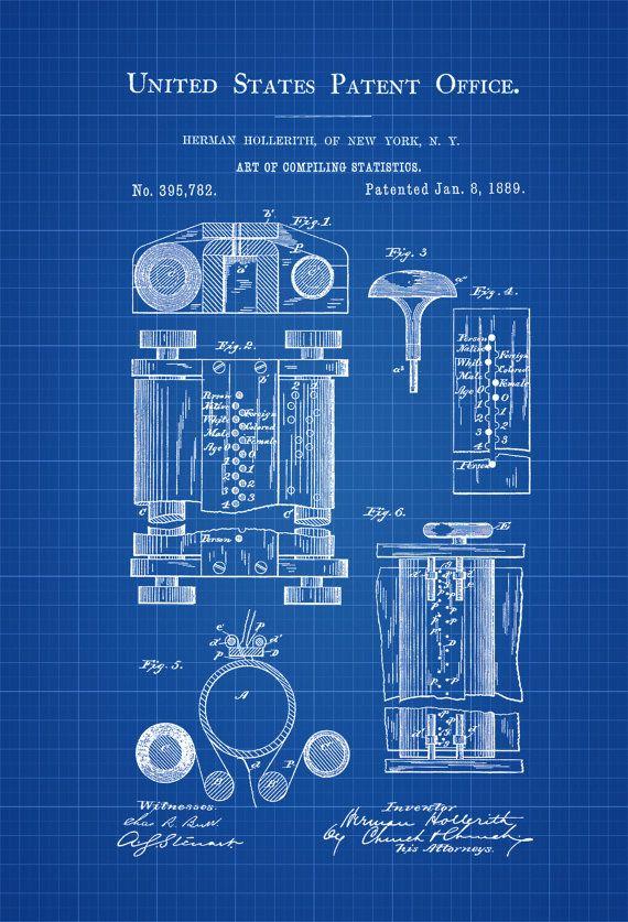 Erstes Computerpatent - Patent Print, Wanddekoration, Computerdekor, Vintage Computer, alter Computer, Steampunk-Dekor