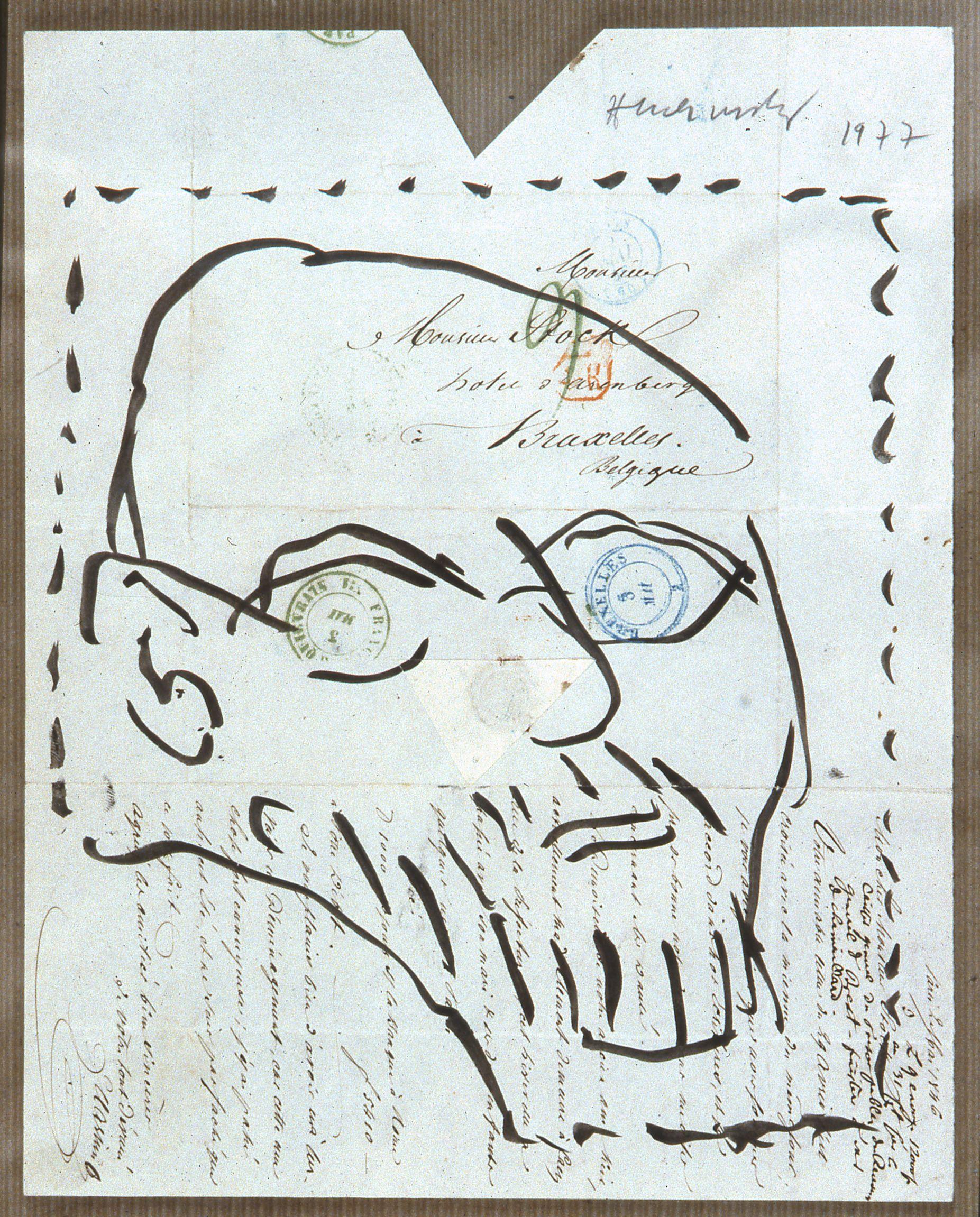 Dessin Sur Lettre Alechinsky 1977 Ladresse Musée De La Poste La