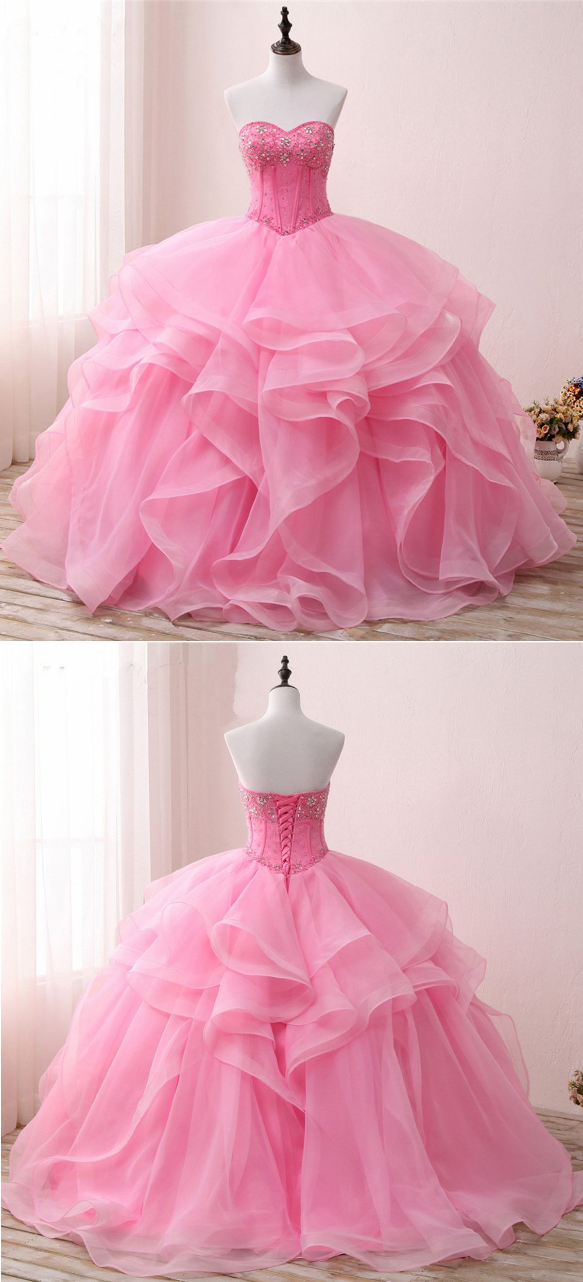 Sweetheart pink organza beaded long customize prom gown pink long