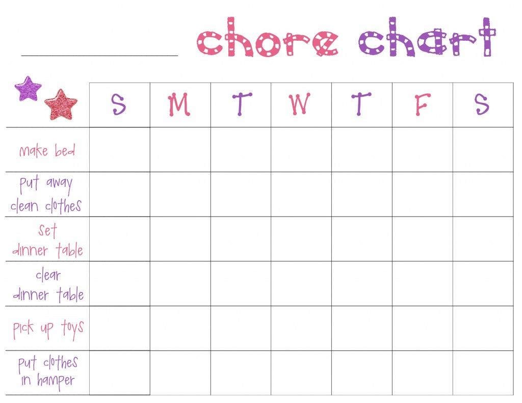 Free Printable Chore Charts For Toddlers