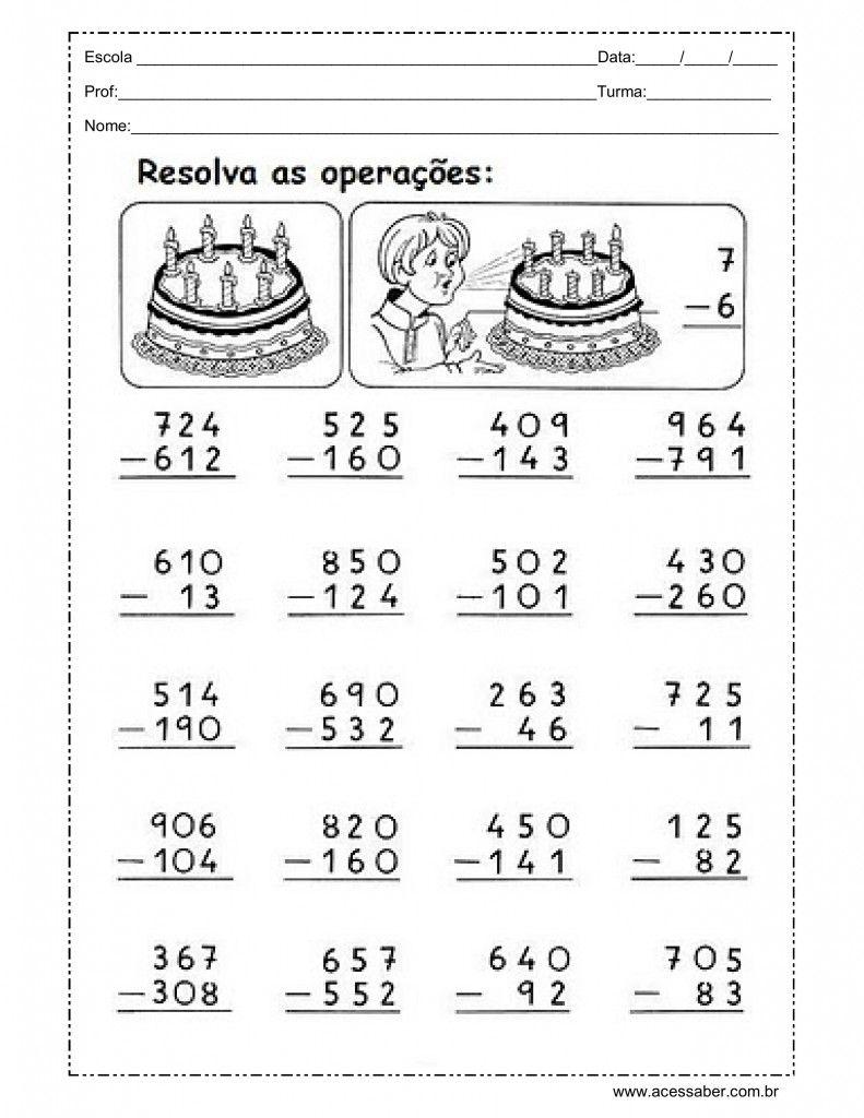 atividade de soma e subtração com reserva | matemática 3º ano ...