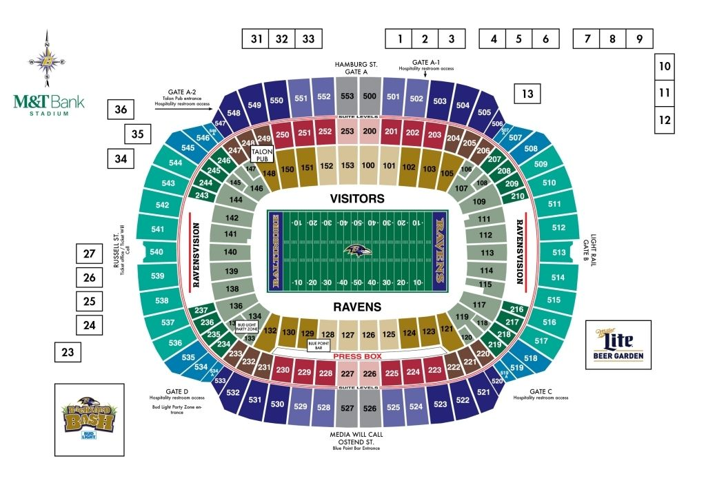 Ravens Stadium Seating Chart In 2020 Seating Charts First Energy Stadium Chart