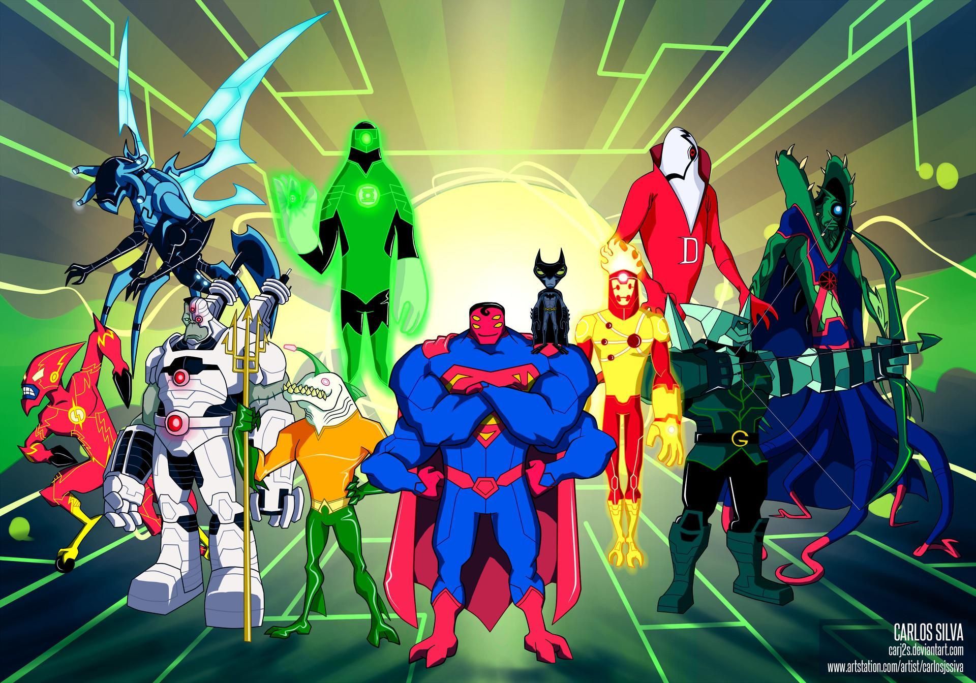 Ben 10 As The Justice League By Carlos Siva Comicbooks Ben 10