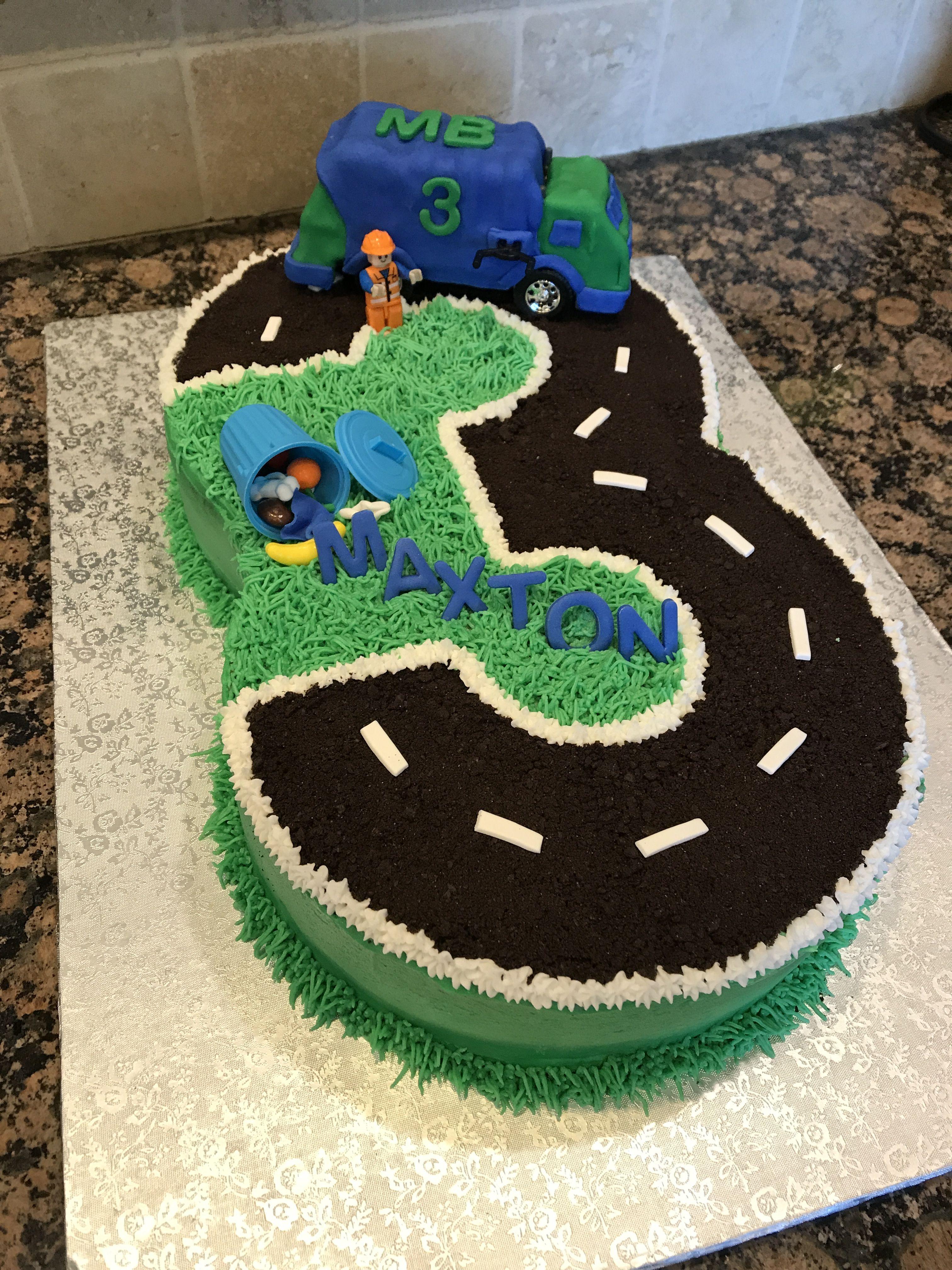 Fine Garbage Truck Cake For 3Rd Birthday Cars Birthday Party Personalised Birthday Cards Veneteletsinfo