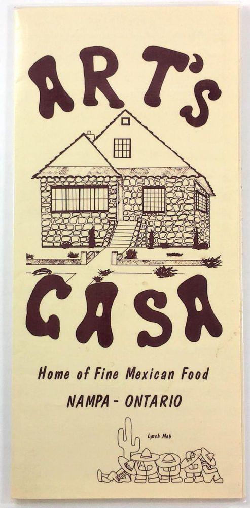 1986 Large Vintage Menu Arts Casa Mexican Restaurant Nampa Idaho