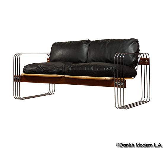 Anonymous Walnut Chrome And Leather Settee By Stendig 1960s Settee Furniture Vintage Sofa