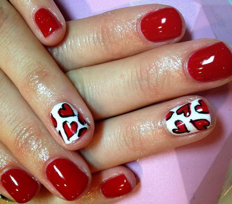 Gel Nail Designs With Love Motif