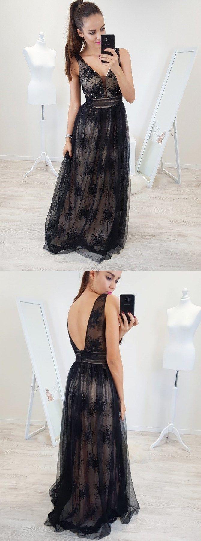 Aline vneck backless floorlength black prom dress with appliques