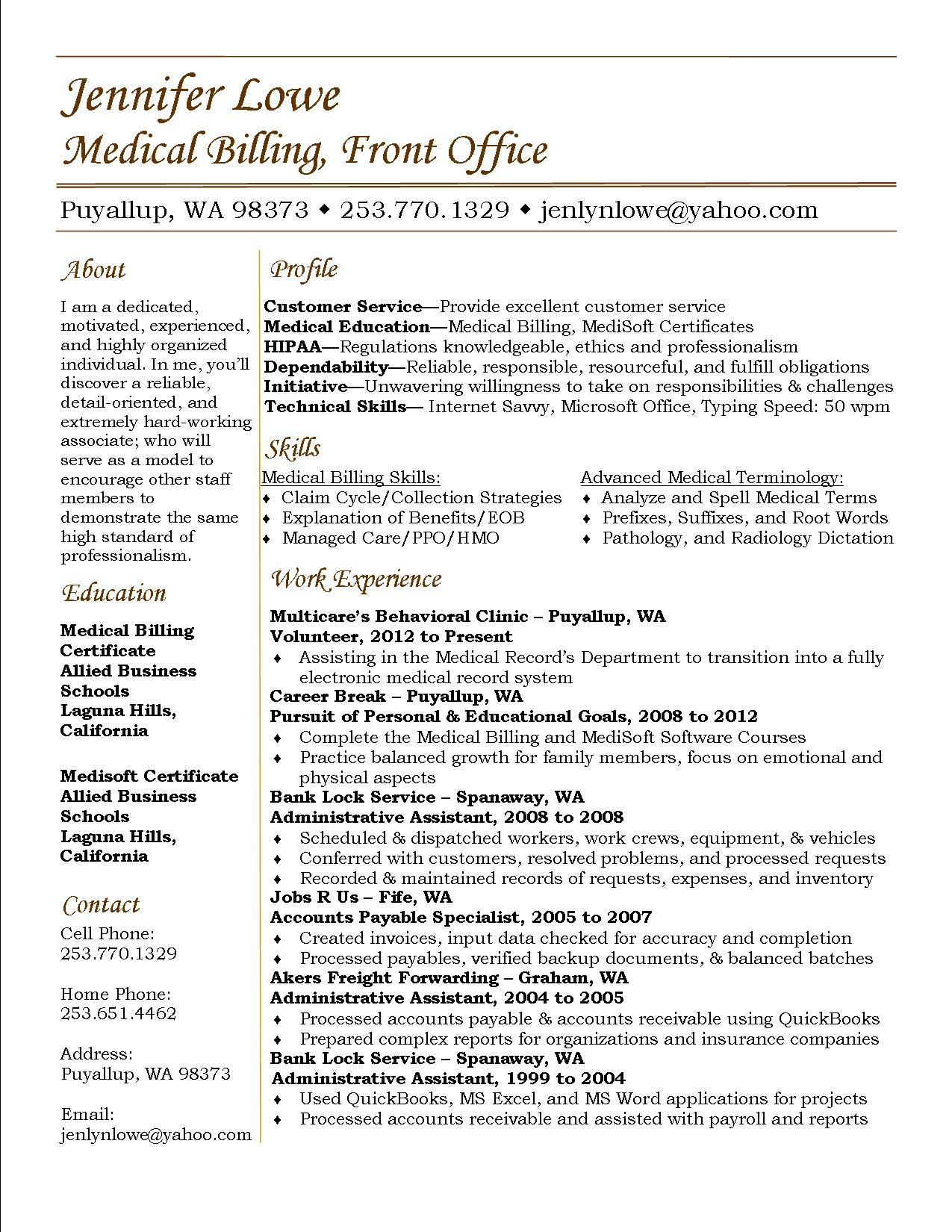 Resume Objective For Medical Billing Jennifer Lowe Resume Medical Billing Resume Career