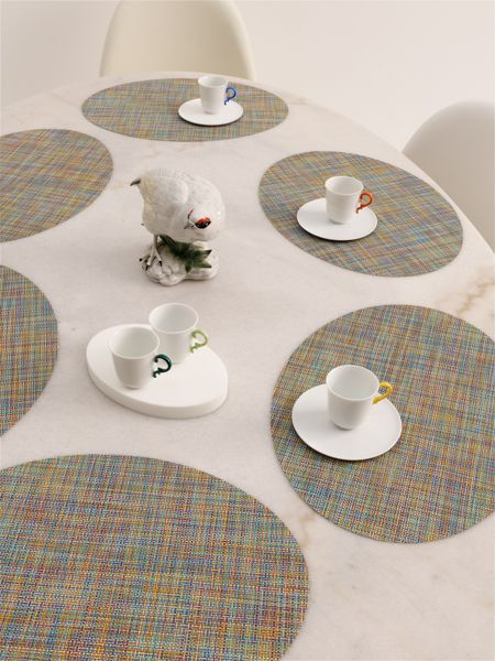 chilewich color collection complex color oval placemats in garden mini basketweave