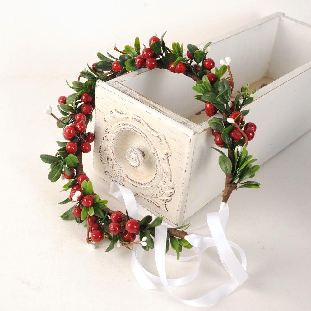 Holiday Headpiece, Christmas Flower Crown, Festive Wedding