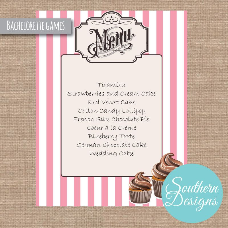 Bachelorette Party Game for Lingerie Party- create dessert names for