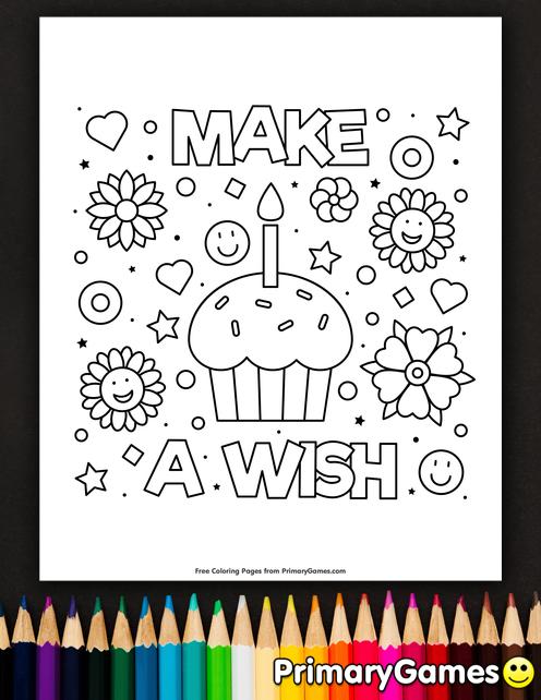 Make A Wish Coloring Page • FREE Printable eBook   Happy ...