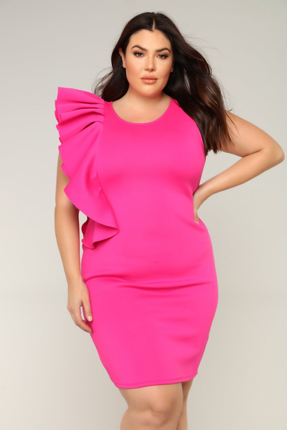 One Sided Love Ruffle Dress - Hot Pink in 2019 | Date Night/Event ...