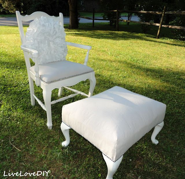 LiveLoveDIY: Reupholster A Chair With A Drop Cloth. $7