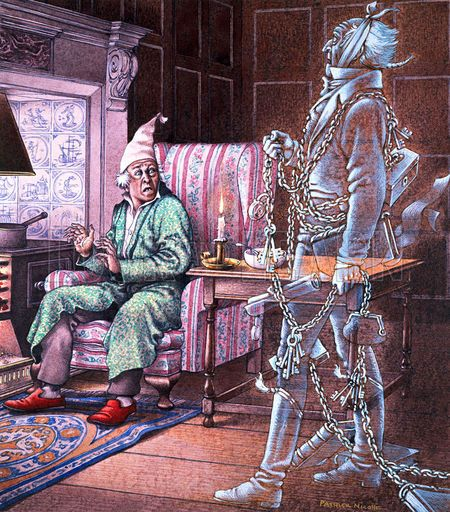 Marley's ghost visits Scrooge in an illustration from the book. | Dickens christmas carol ...