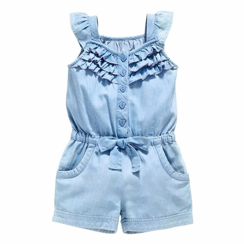 Toddler Kids Baby Girl Denim Romper Jumpsuit Playsuit Long Pants Outfits Clothes