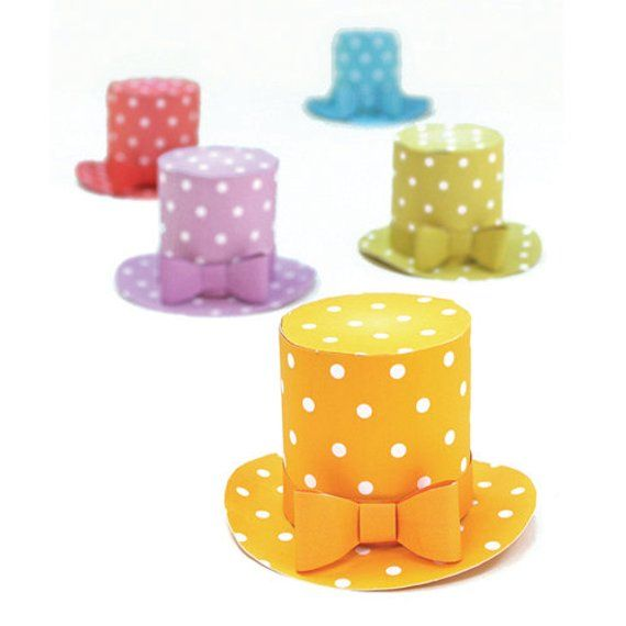 Polka dot mini top hat templates/patterns with an easy no-sew step