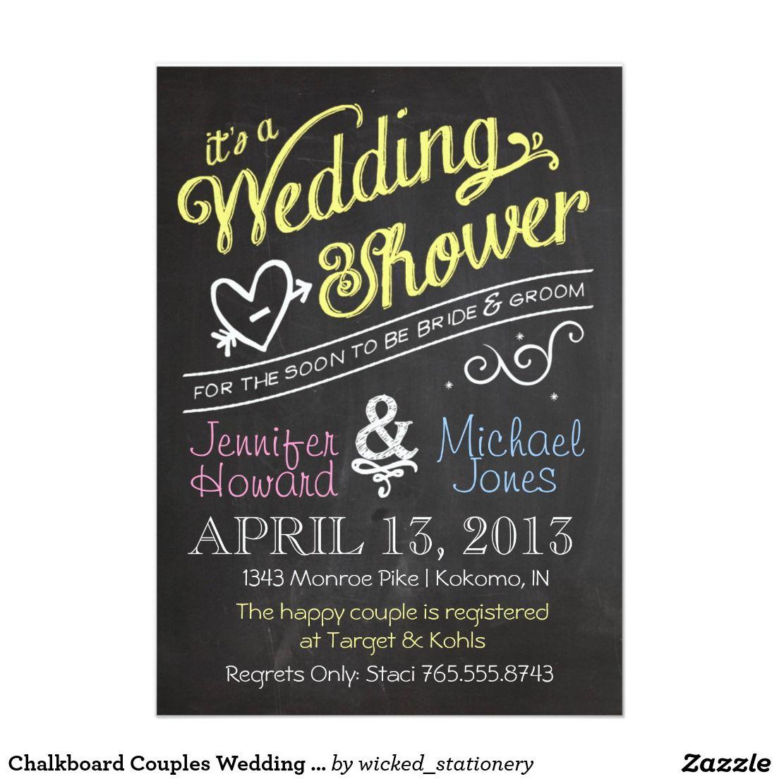 Chalkboard Couples Wedding Shower Invitation | Chalkboard Bridal ...