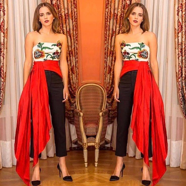 O que acharam desse Oscar de la Renta da Emma Watson na première de A Bela e a Fera em Paris? Ela adora um look ousado e acho que super segura!