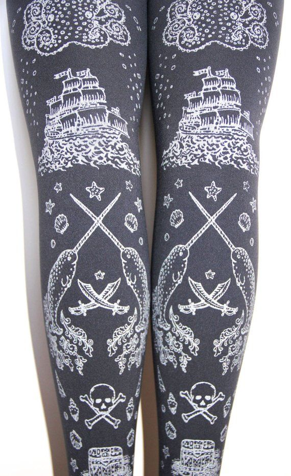 a6a8774b61f SALE 25% OFF Pirate Squid Tights Silver on Slate Grey Dark Gray All Sizes  Tattoo Tights Sailor Octop