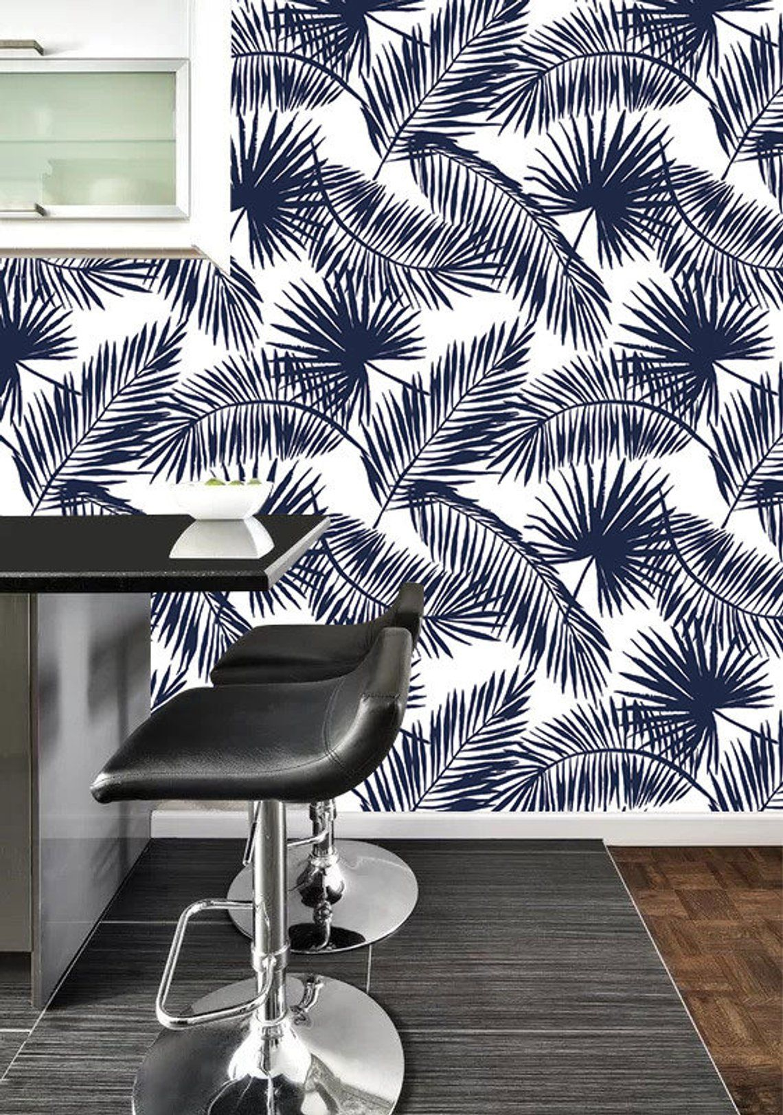 Dark Blue Tropical Palm Leaf Self Adhesive Removable Wallpaper Etsy Removable Wallpaper Tapestry Wall Art Self Adhesive Wallpaper