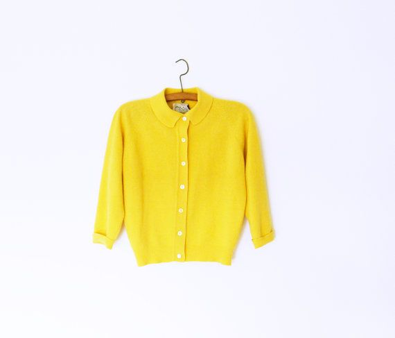1940s Mustard Yellow Wool Cardigan / Sweet Cropped Vintage Sweater ...